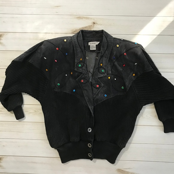 Vintage Jackets & Blazers - Vintage Black Jean embellish acid bomber jacket m